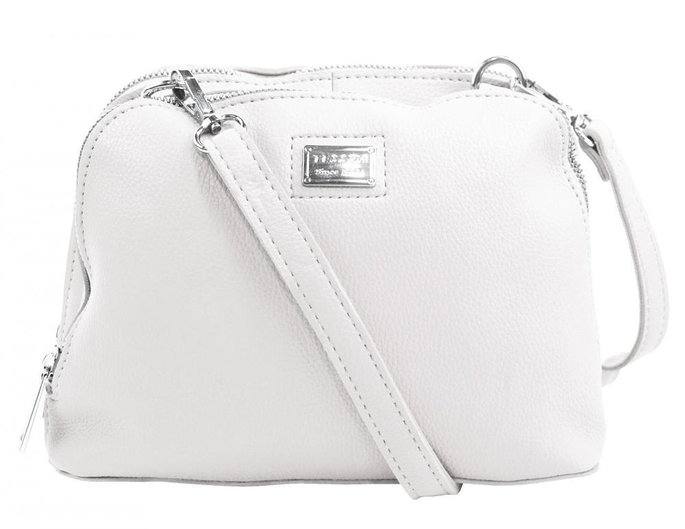 Biela mäkká crossbody dámska kabelka s dvoma oddielmi 5623-TS