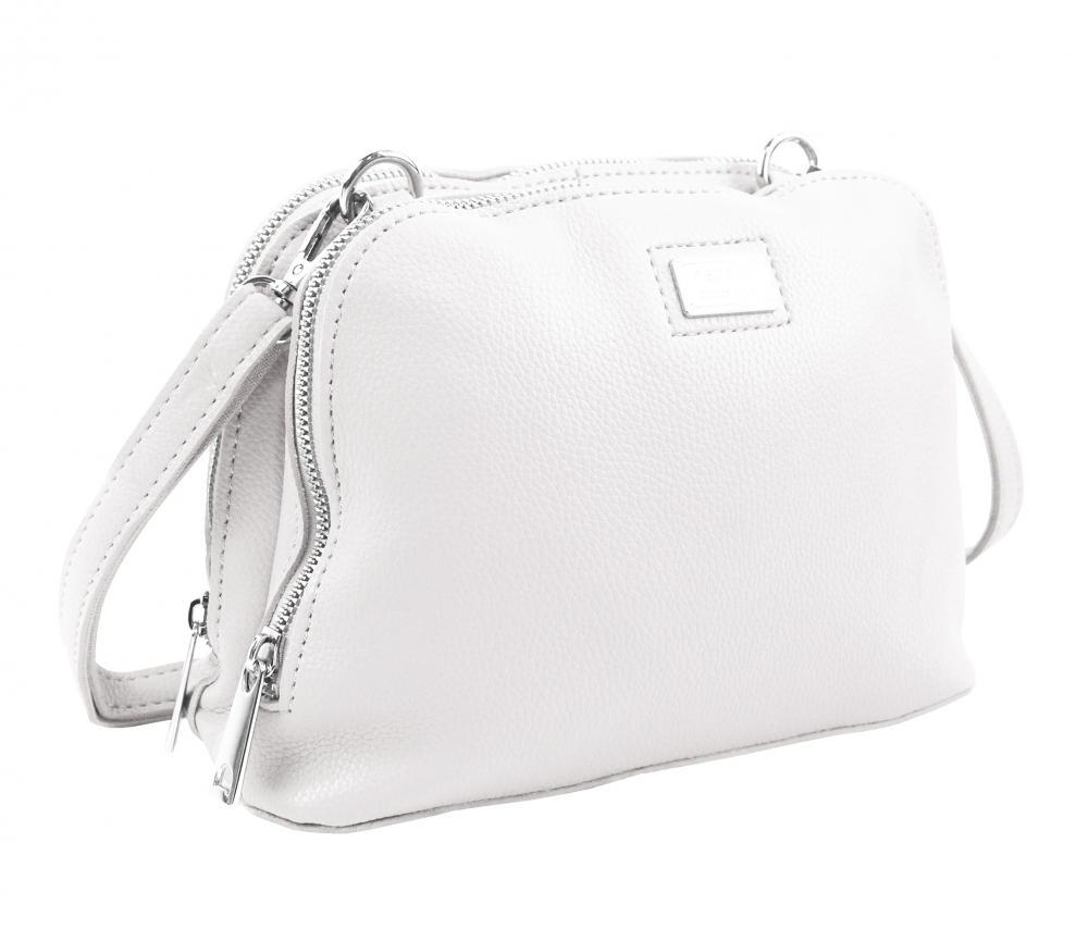 Bílá měkká crossbody dámská kabelka se dvěma oddíly 5623-TS