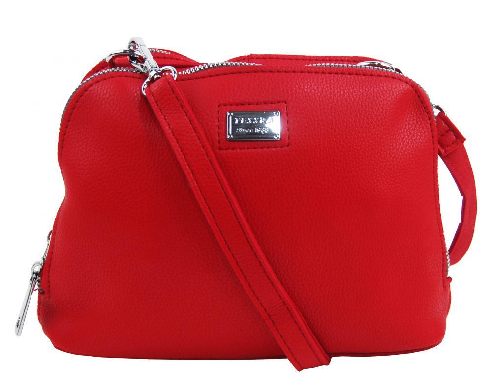 Červená mäkká crossbody dámska kabelka s dvoma oddielmi 5623-TS