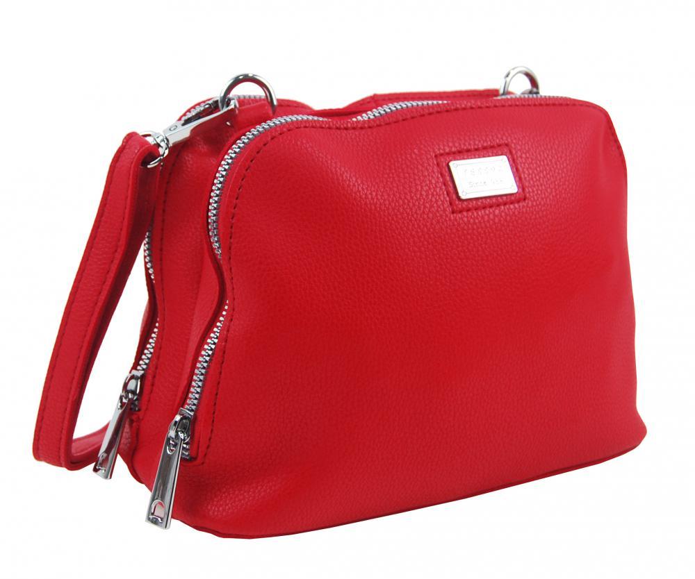 Červená měkká crossbody dámská kabelka se dvěma oddíly 5623-TS