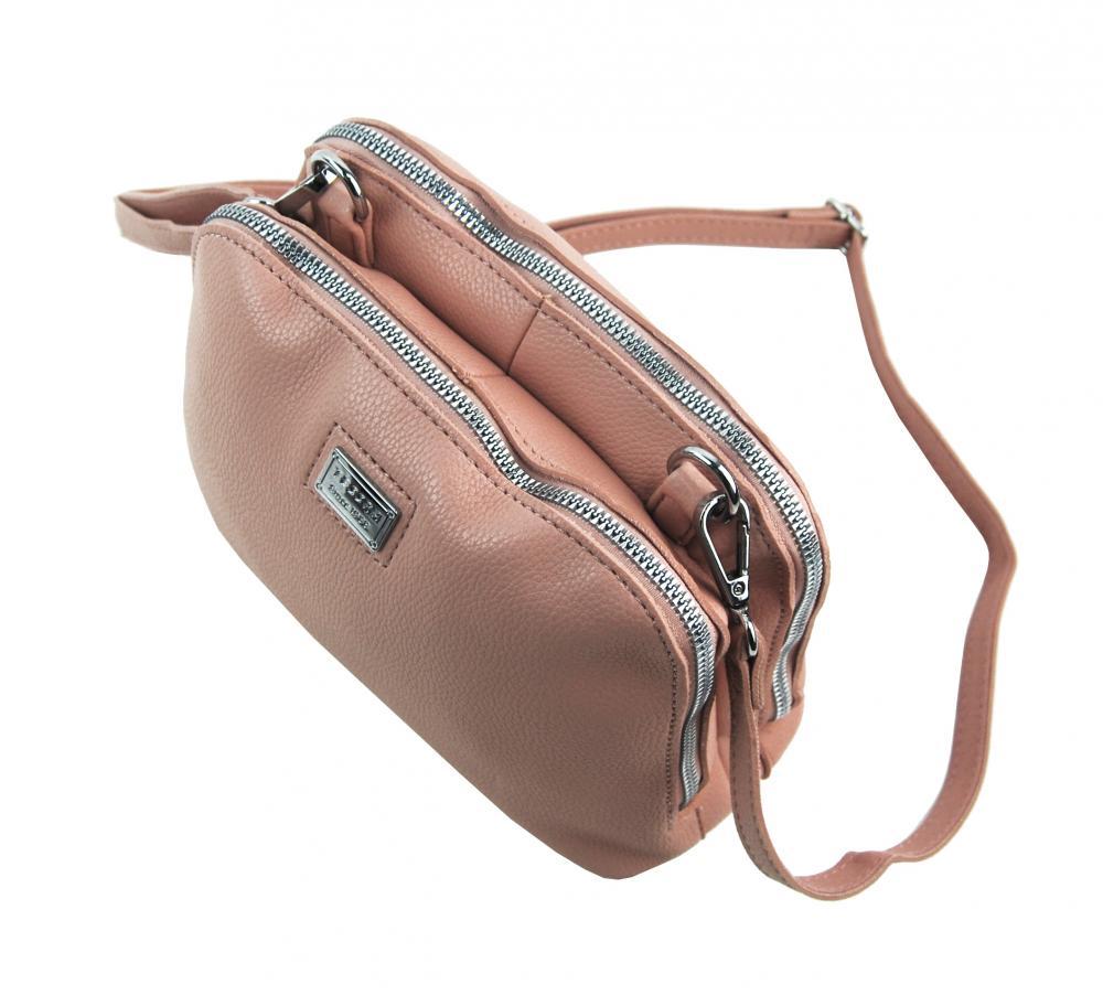 Ružová mäkká crossbody dámska kabelka s dvoma oddielmi 5623-TS