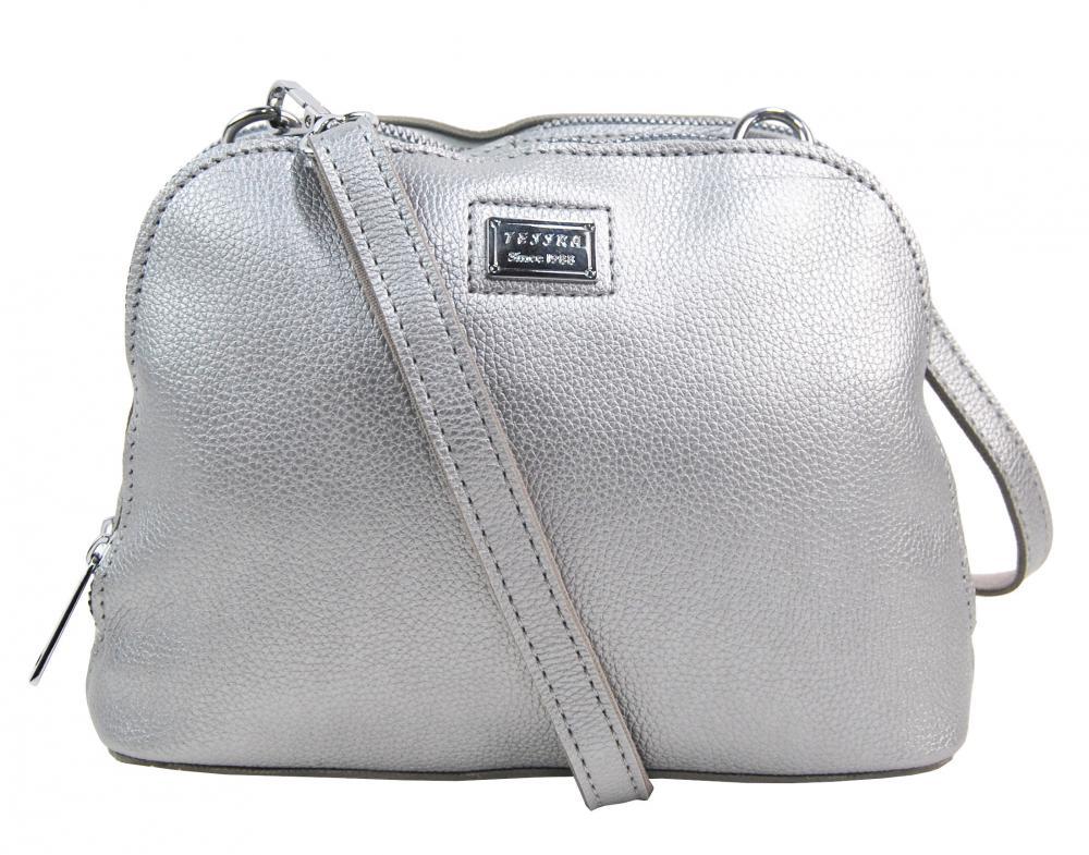 Stříbrná měkká crossbody dámská kabelka se dvěma oddíly 5623-TS