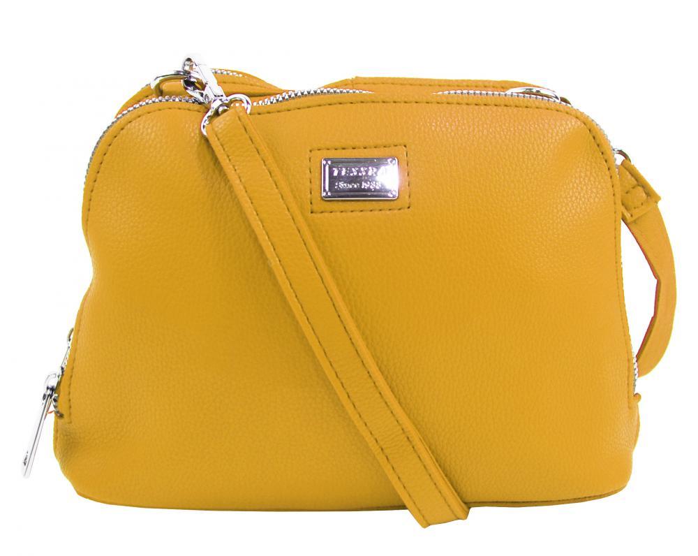 Žltá mäkká crossbody dámska kabelka s dvoma oddielmi 5623-TS