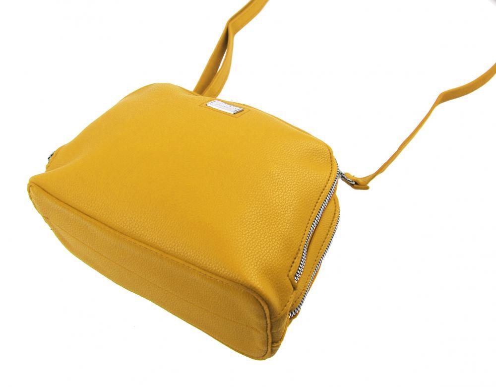 Žlutá měkká crossbody dámská kabelka se dvěma oddíly 5623-TS