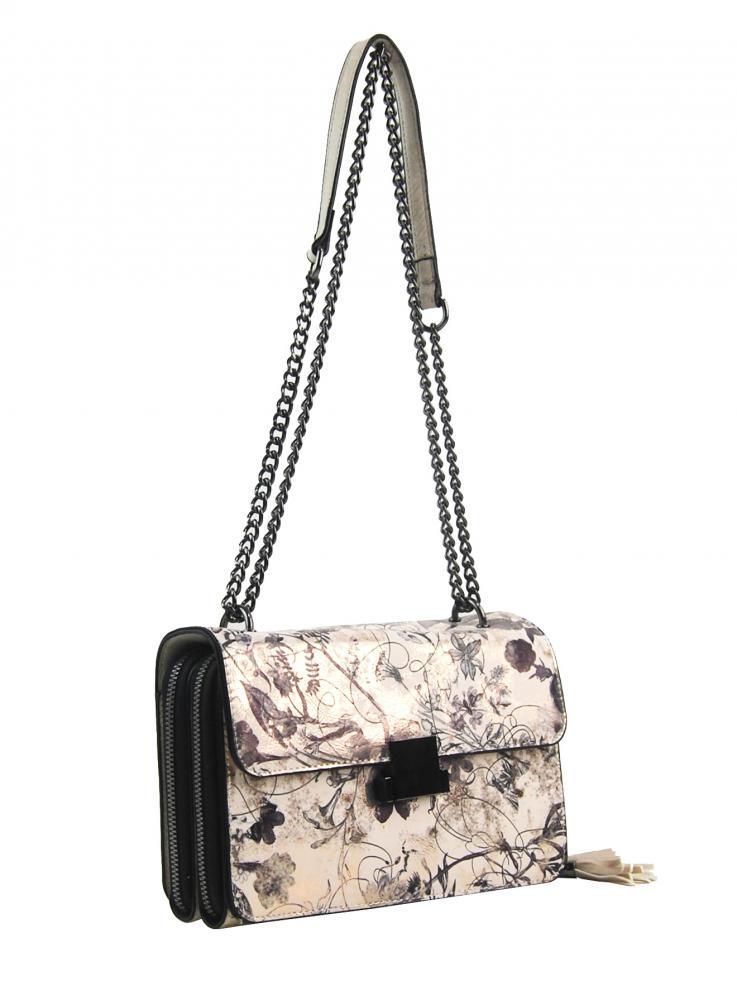 Crossbody dámská kabelka na řetízku s potiskem 6257 béžová