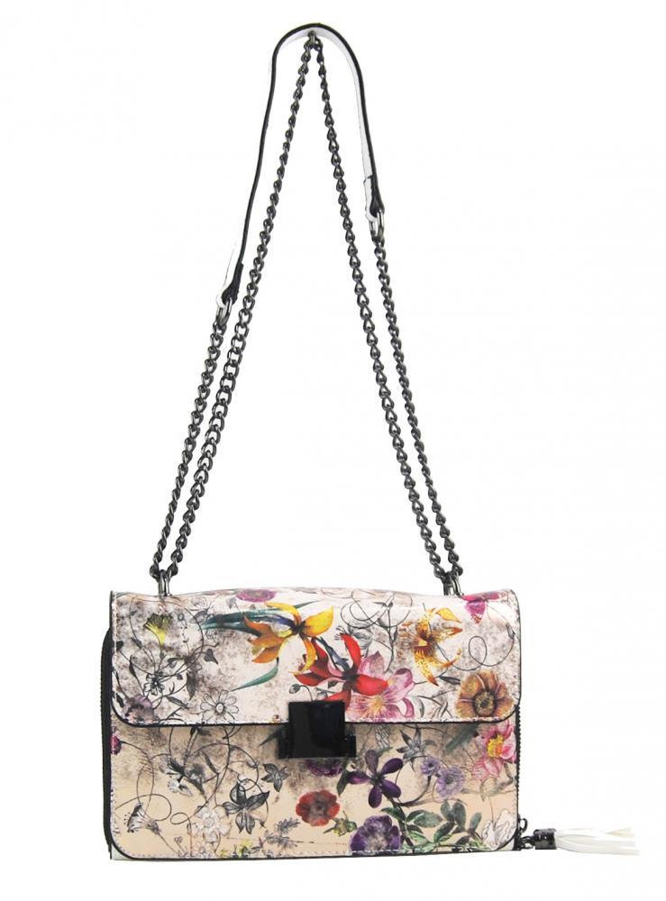 Crossbody dámská kabelka na řetízku s potiskem 6257 bílá