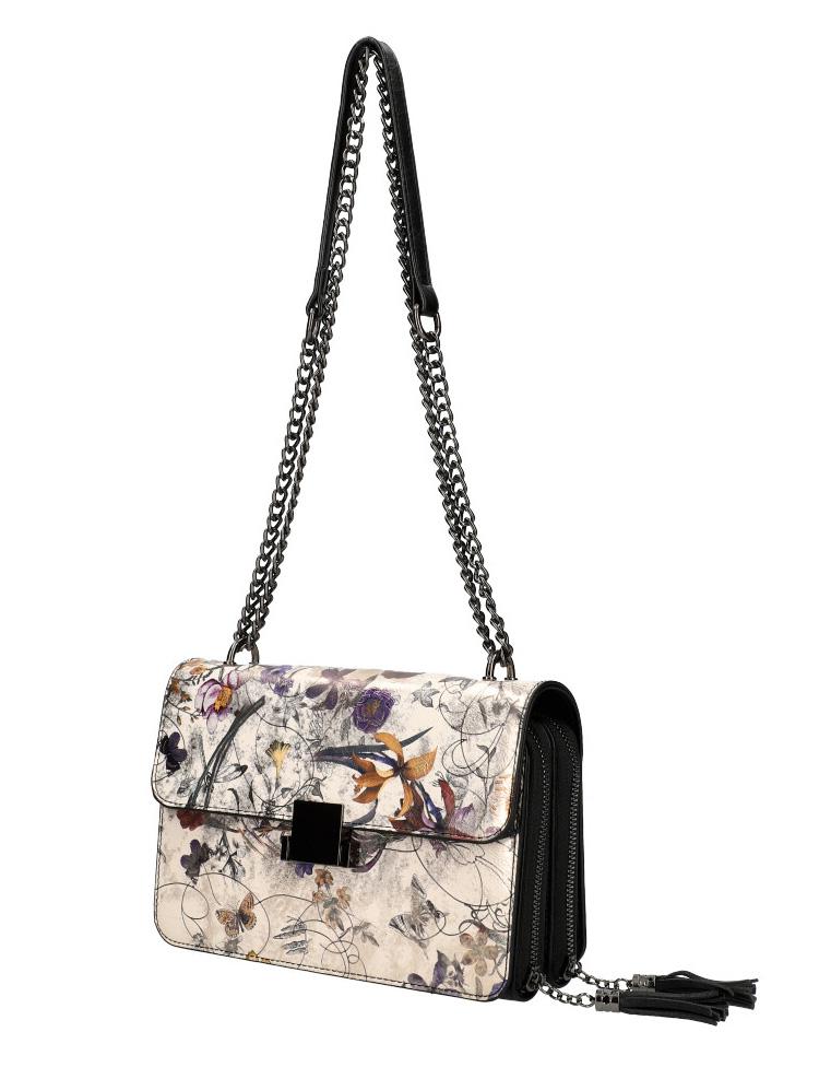 Crossbody dámská kabelka na řetízku s potiskem 6257 černá