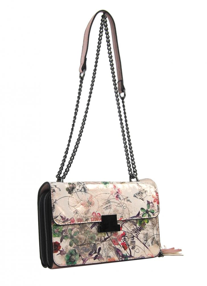 Crossbody dámská kabelka na řetízku s potiskem 6257 růžová