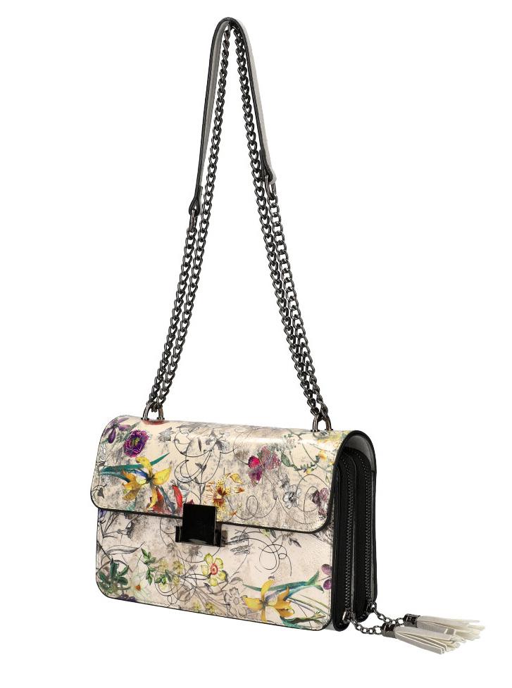 Crossbody dámská kabelka na řetízku s potiskem 6257 šedá