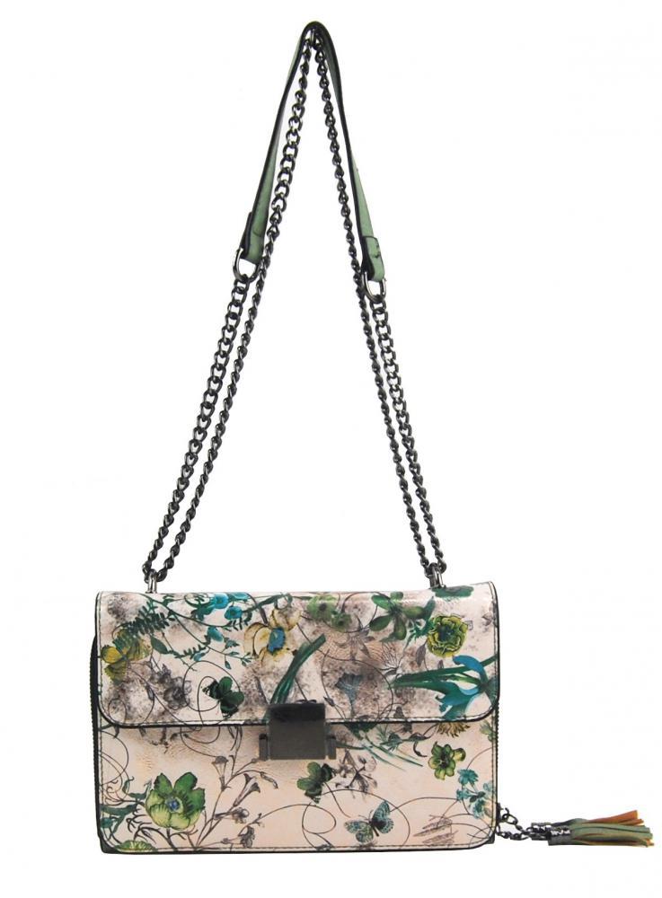 Crossbody dámská kabelka na řetízku s potiskem 6257 zelená