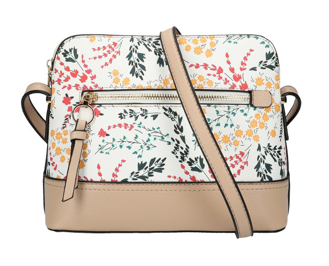 Béžovohnědá dámská crossbody kabelka s potiskem květin AM0120