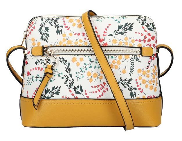 Žlutá dámská crossbody kabelka s potiskem květin AM0120