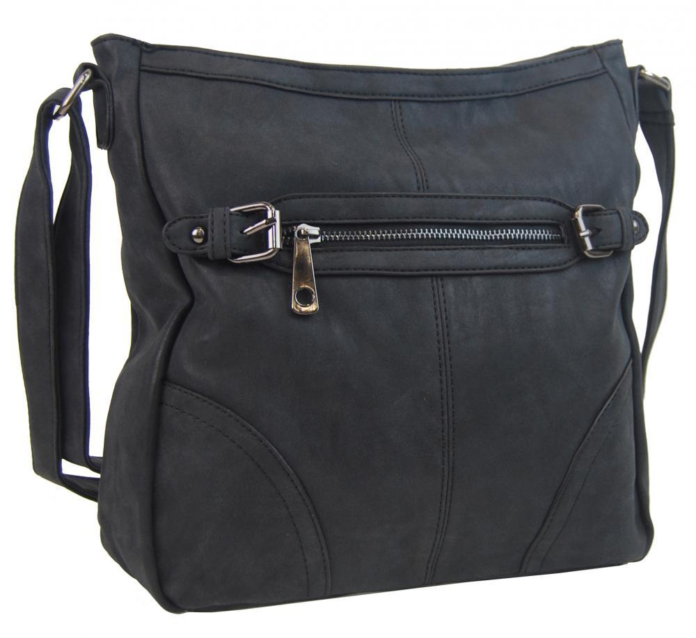 Crossbody dámská broušená kabelka C014-2 černá