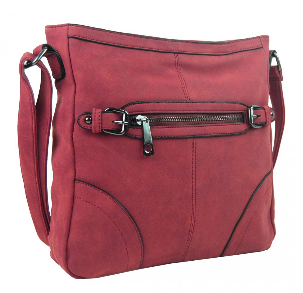 Crossbody dámska brúsená kabelka C014-2 červená