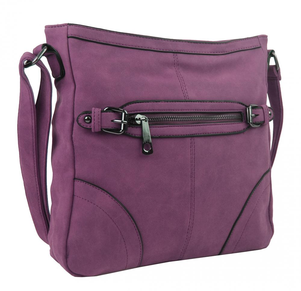 Crossbody dámska brúsená kabelka C014-2 fialová