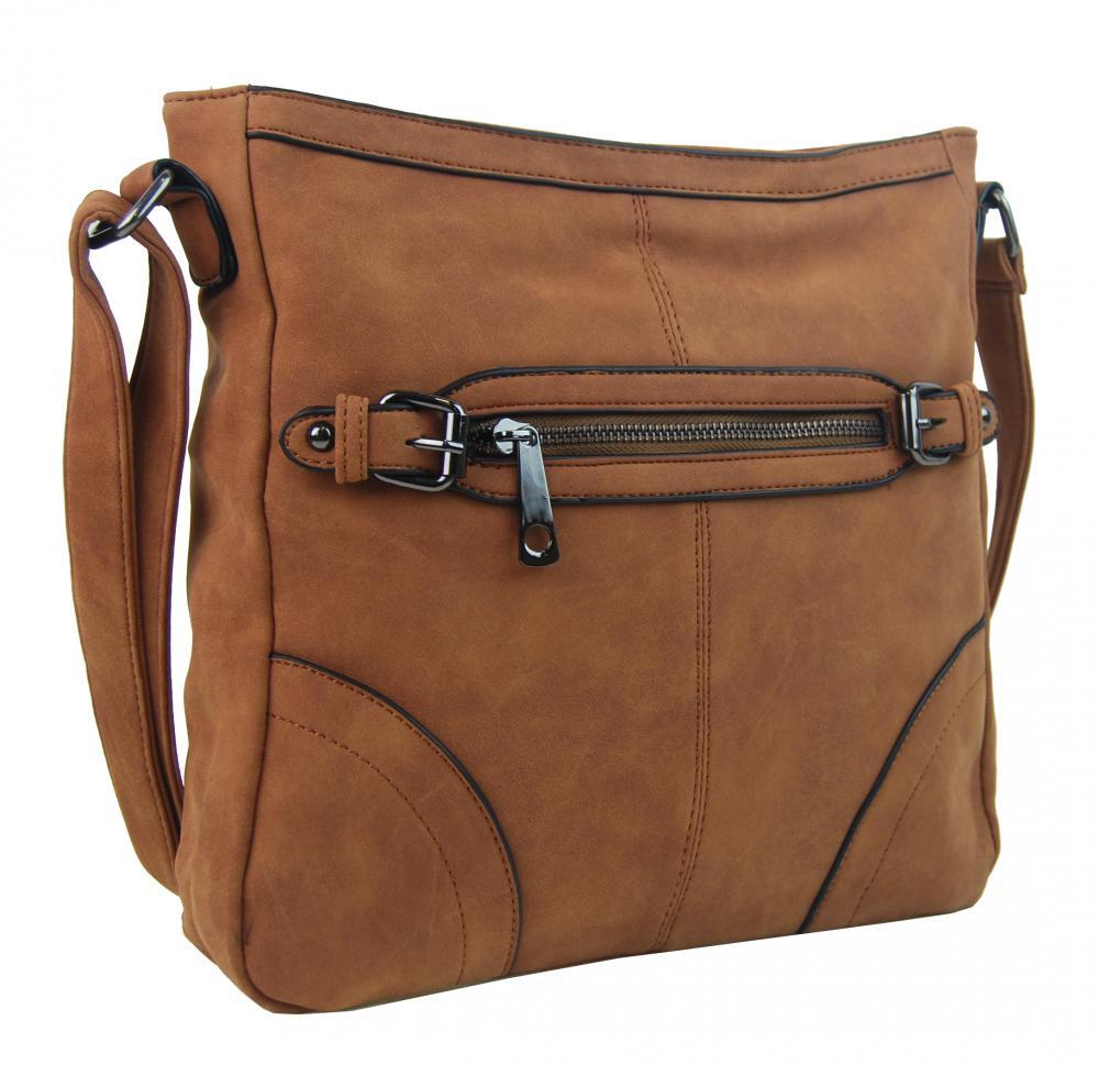Crossbody dámská broušená kabelka C014-2 hnědá