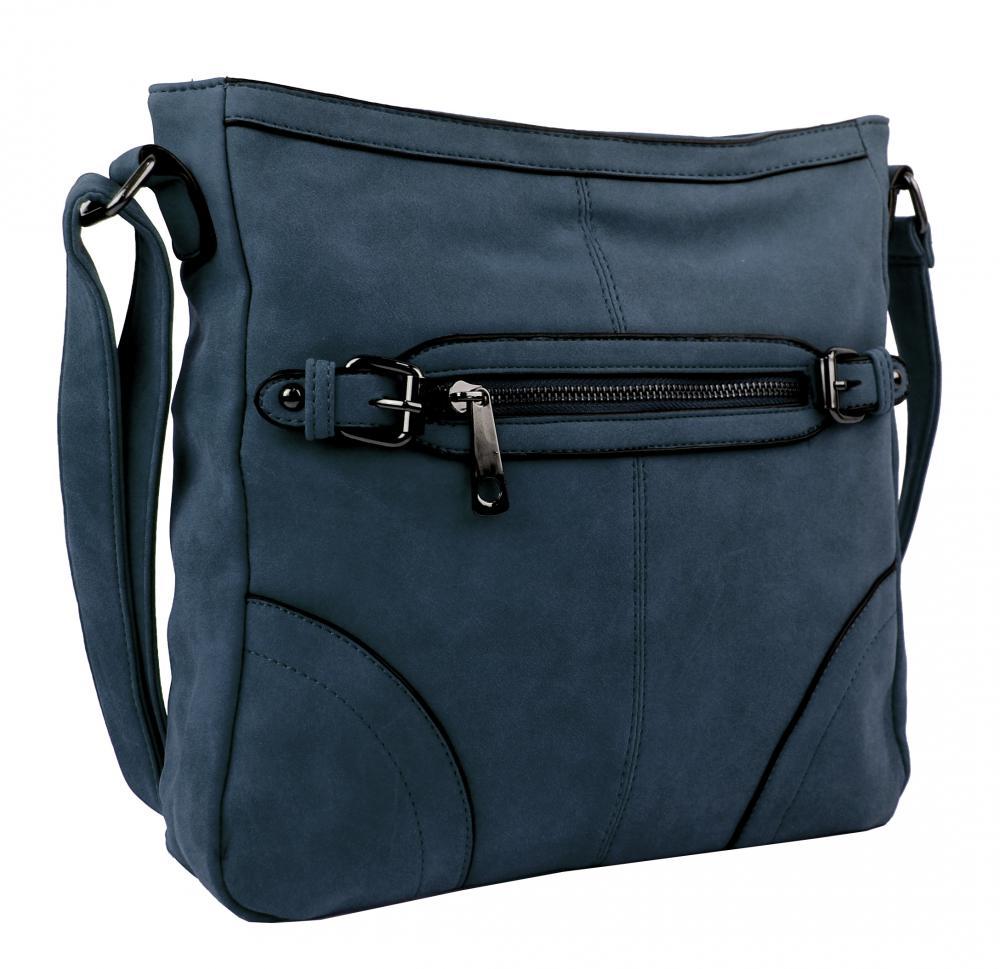Crossbody dámska brúsená kabelka C014-2 modrá