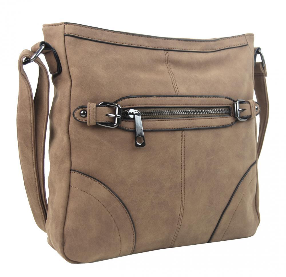Crossbody dámská broušená kabelka C014-2 písková hnědá