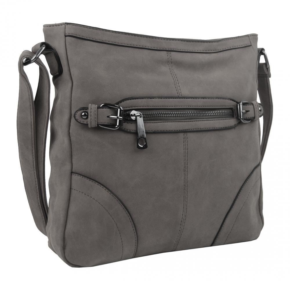 Crossbody dámska brúsená kabelka C014-2 stredne sivá