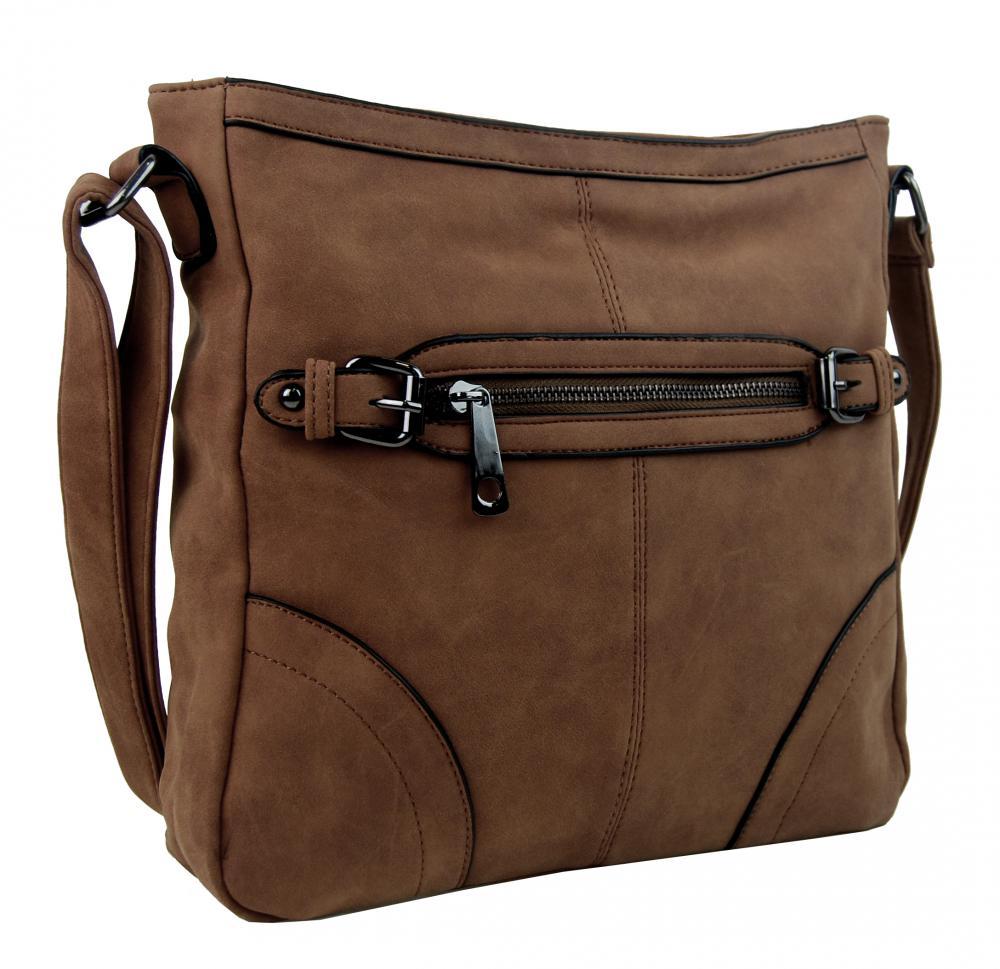 Crossbody dámská broušená kabelka C014-2 tmavě hnědá