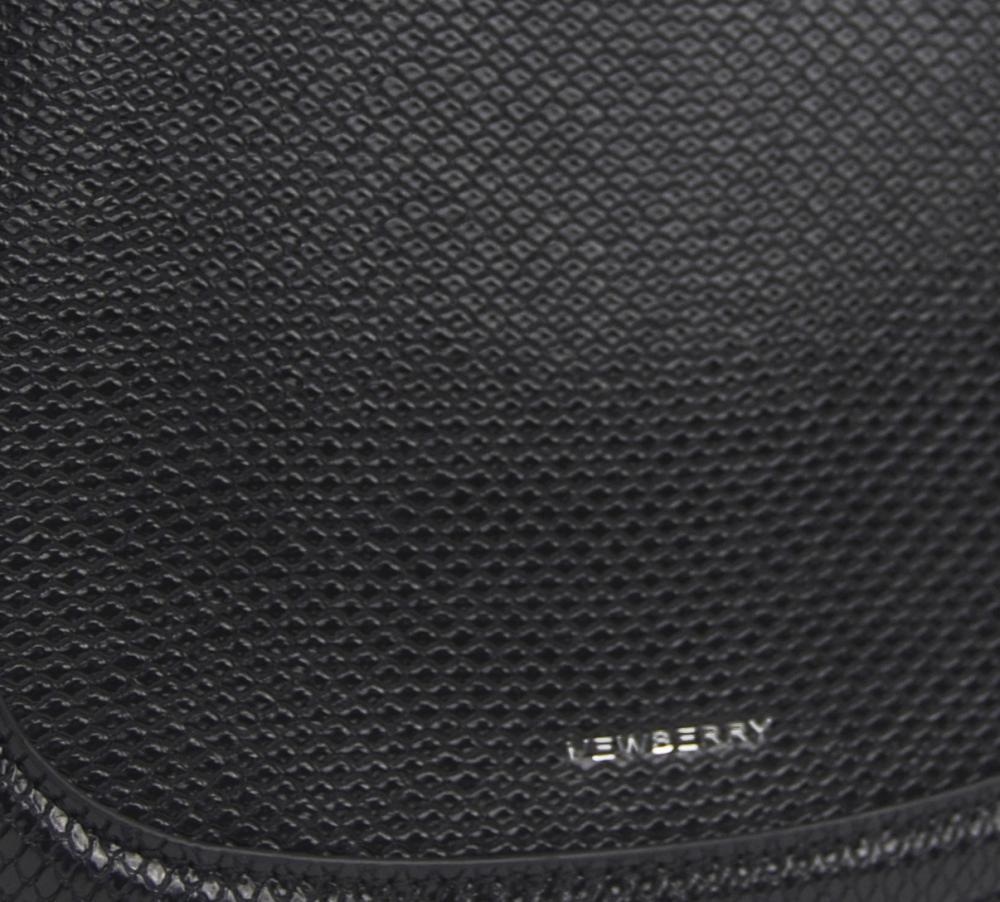Čierna oblá crossbody dámska kabelka v hadím dizajne NEW BERRY