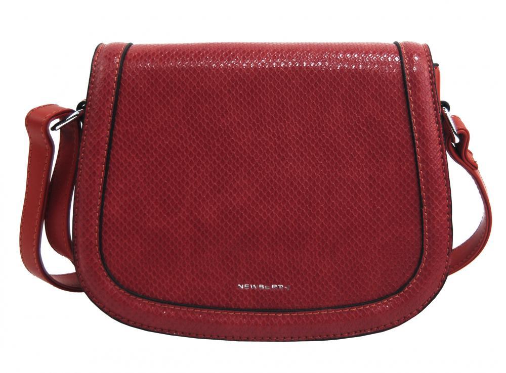 Tmavšia červená oblá crossbody dámska kabelka v hadím dizajne NEW BERRY