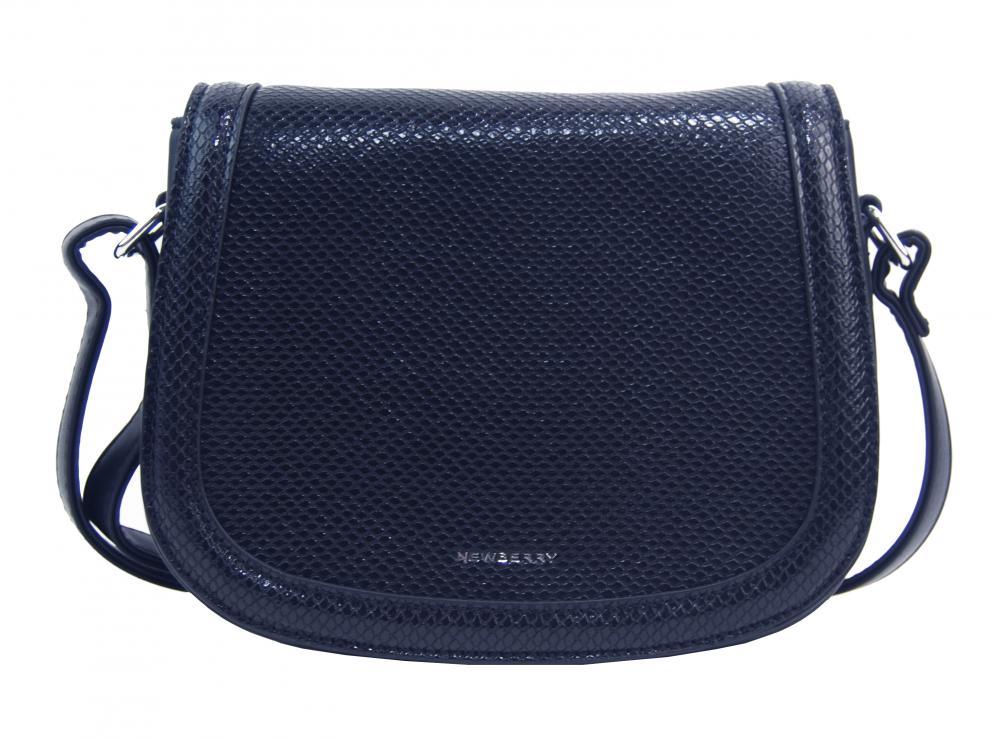 Tmavo modrá oblá crossbody dámska kabelka v hadím dizajne NEW BERRY