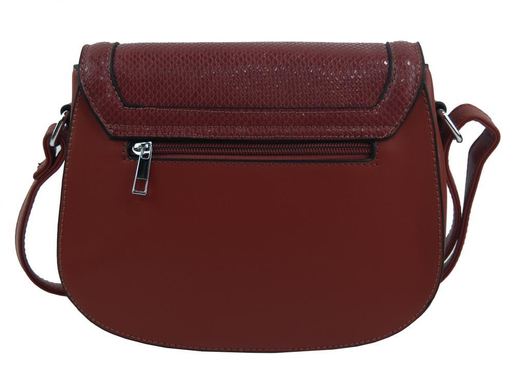 Vínová oblá crossbody dámská kabelka v hadím designu NEW BERRY