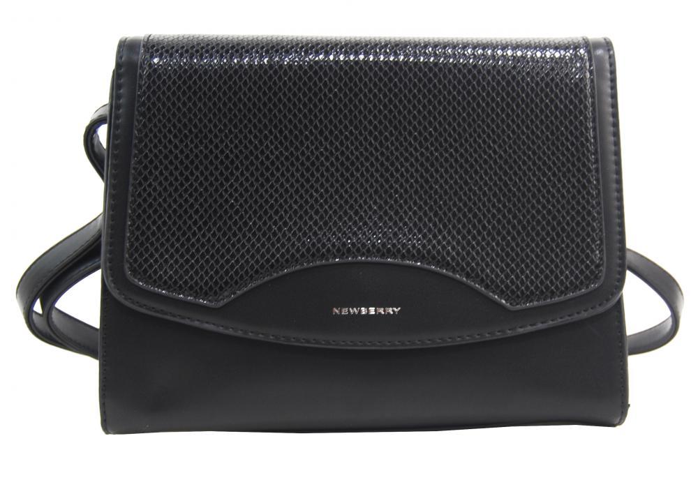 Čierna crossbody dámska kabelka v hadím dizajne NEW BERRY