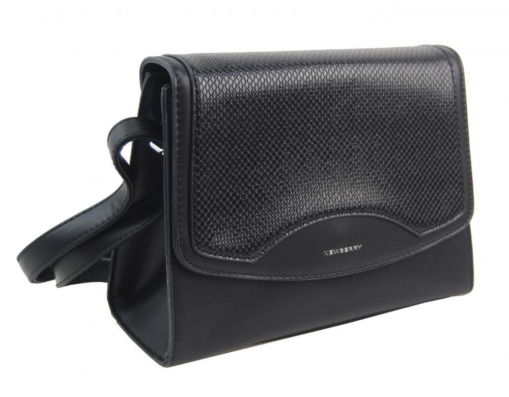Černá crossbody dámská kabelka v hadím designu NEW BERRY