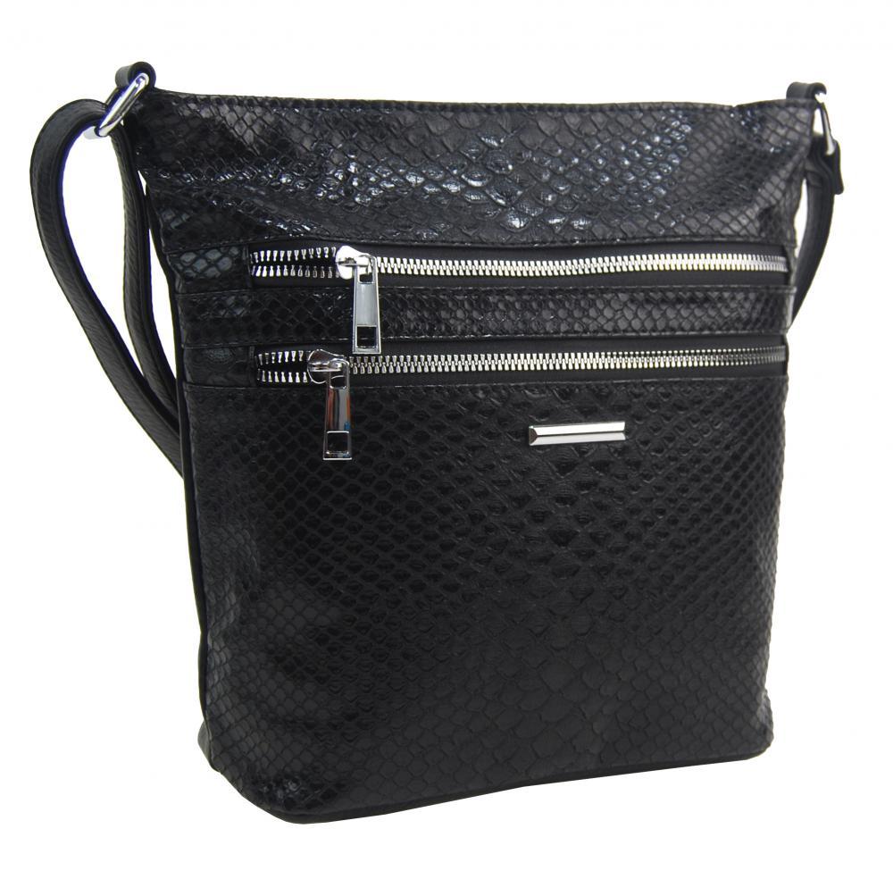 Čierna crossbody dámska kabelka v kroko dizajne
