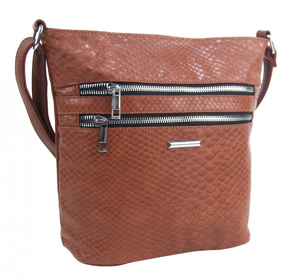 Hnedá crossbody dámska kabelka v kroko dizajne