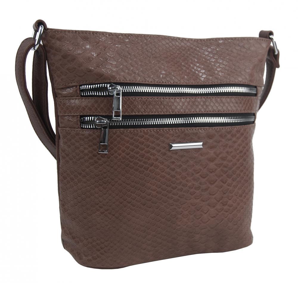 Prírodne hnedá crossbody dámska kabelka v kroko dizajne