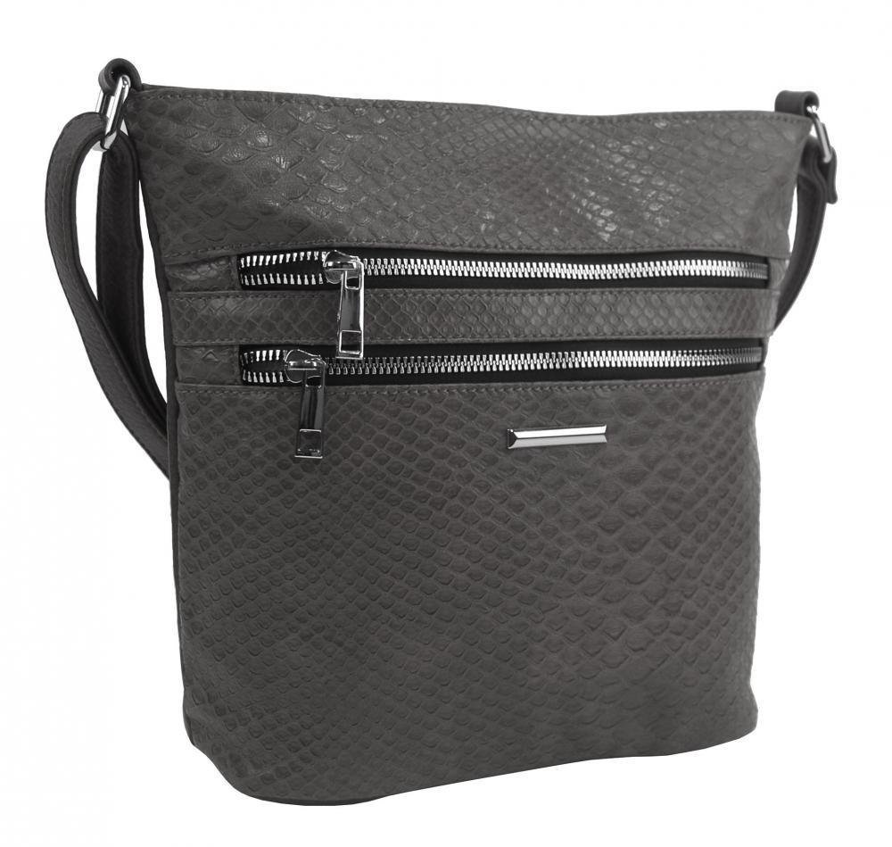 Tmavě šedá crossbody dámská kabelka v kroko designu