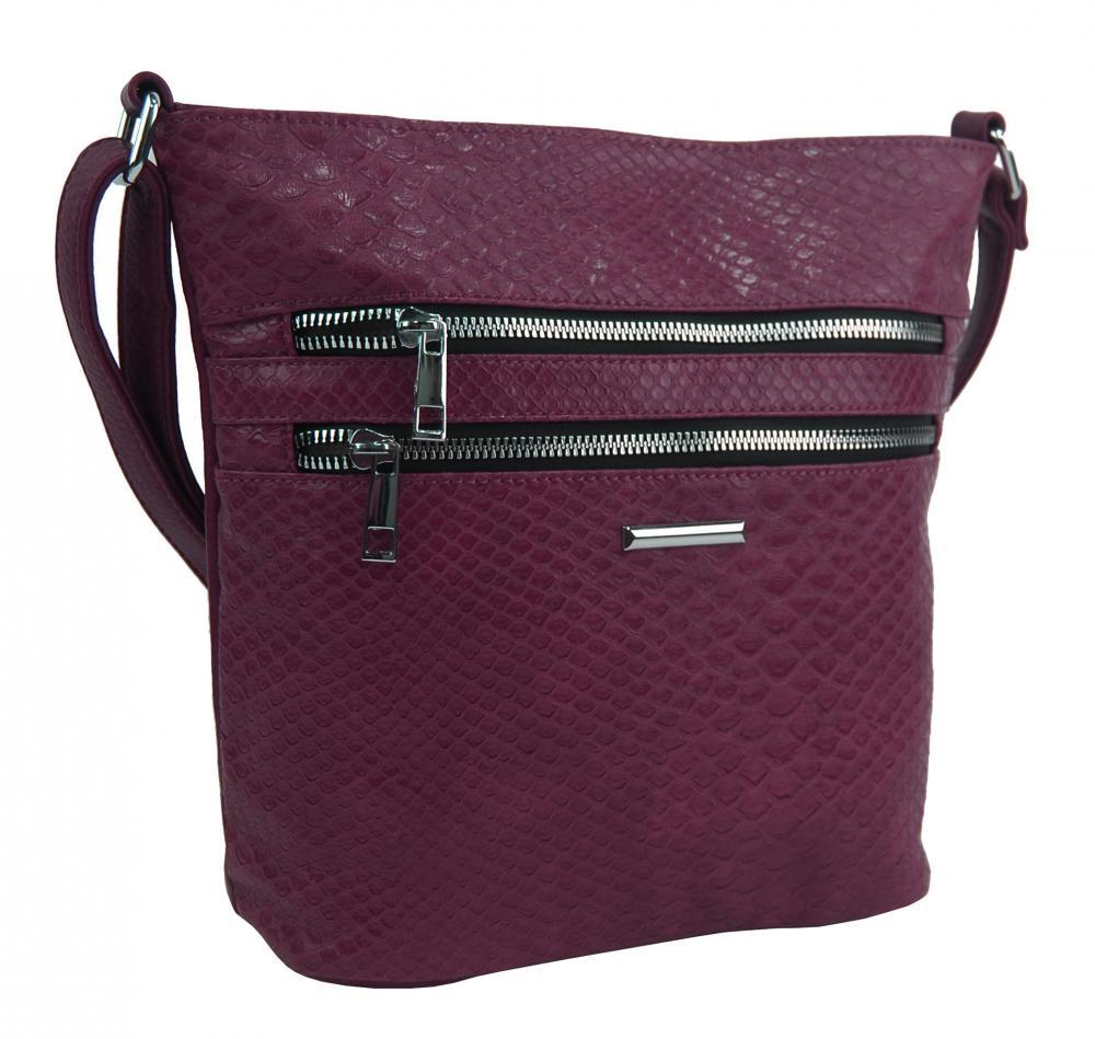 Vínovo červená crossbody dámska kabelka v kroko dizajne