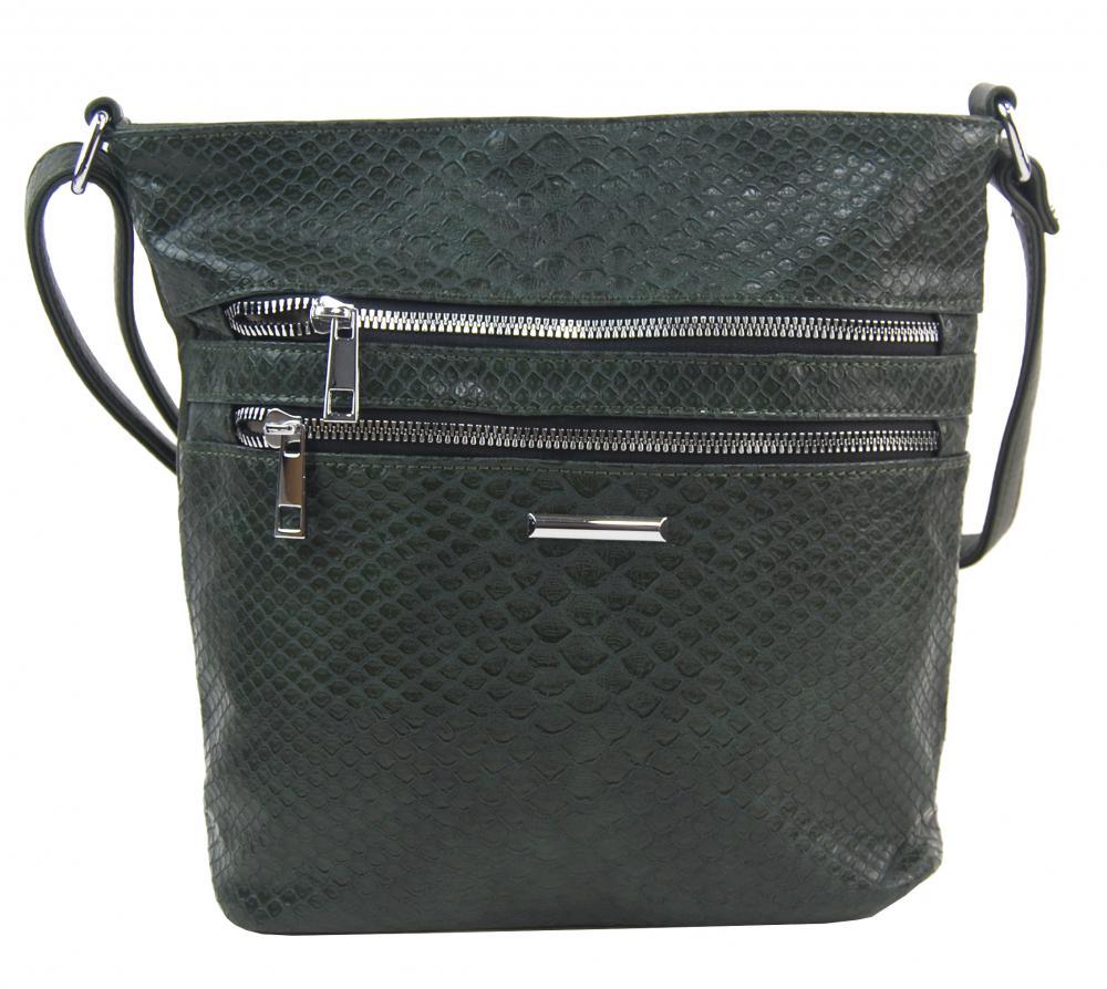 Tmavo zelená crossbody dámska kabelka v kroko dizajne