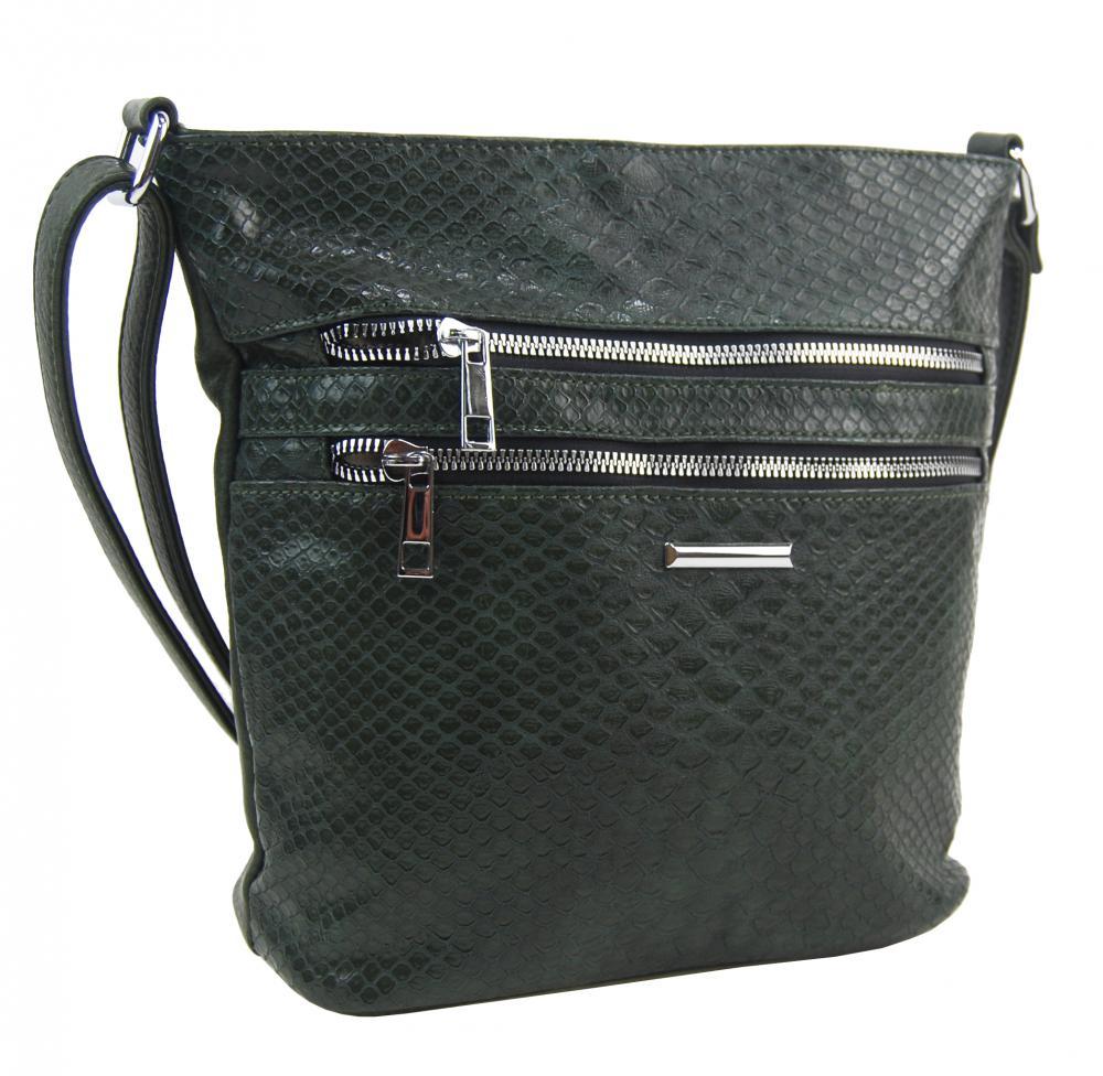 Tmavě zelená crossbody dámská kabelka v kroko designu