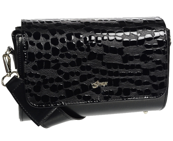 Luxusná dámska crossbody kabelka čierna KM013 GROSSO