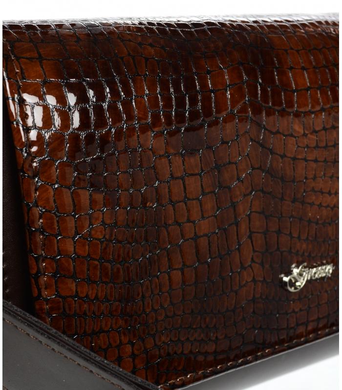 Luxusní dámská crossbody kabelka hnědá kroko KM013 GROSSO