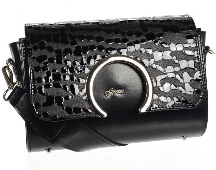 Luxusná dámska crossbody kabelka čierna KM014 GROSSO
