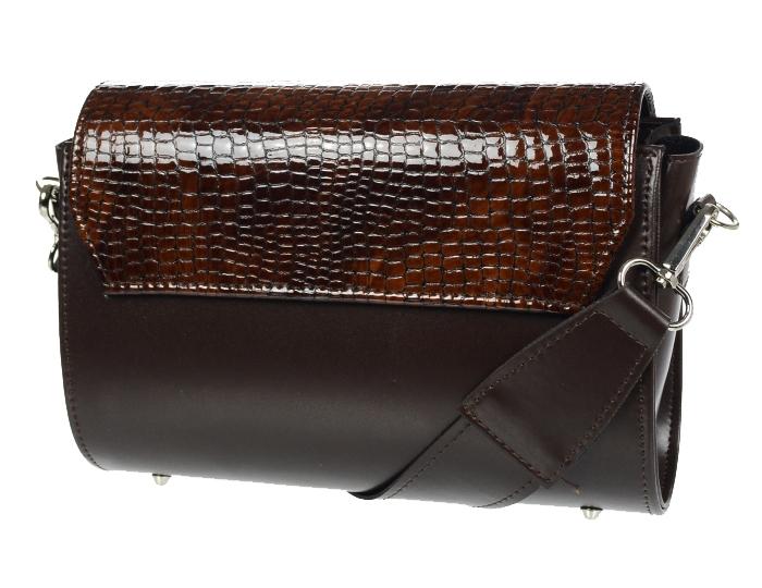 Luxusní dámská crossbody kabelka hnědá kroko KM014 GROSSO