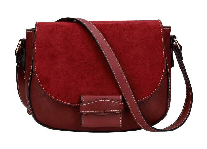 Crossbody dámská kabelka KR842 burgundská červená