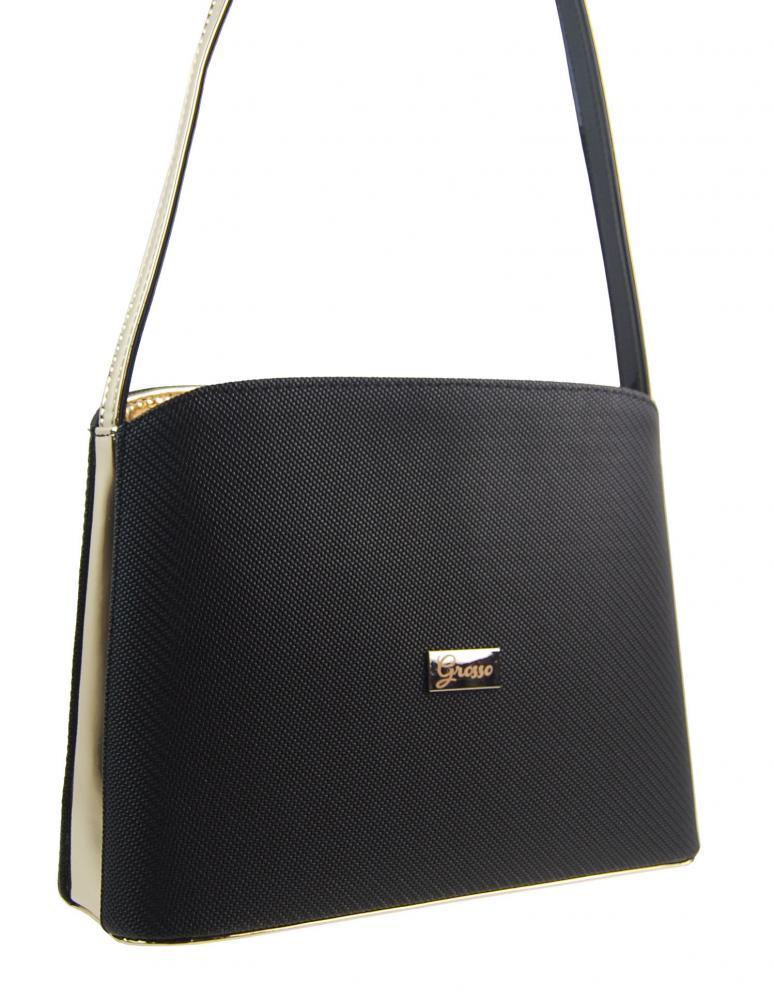 Černo-zlatá luxusní pevná dámská kabelka na rameno M199 GROSSO