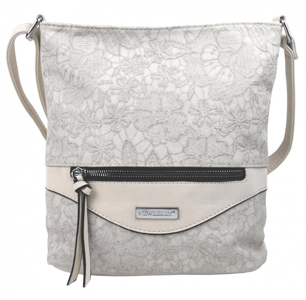 Crossbody kabelka v květovaném designu HB043 šedo-béžová
