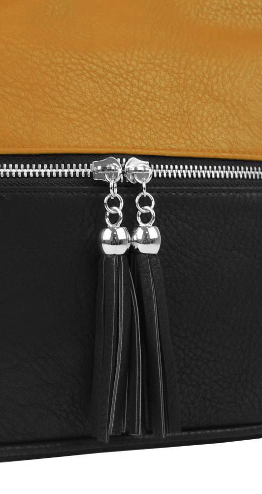 Malá crossbody kabelka so strieborným zipsom NH 6020 čierno-okrová