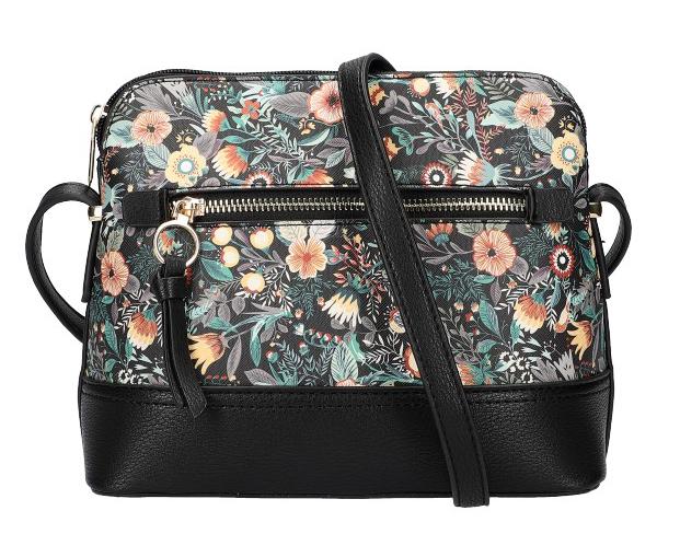 Čierna dámska crossbody kabelka s potlačou kvetín AM0120