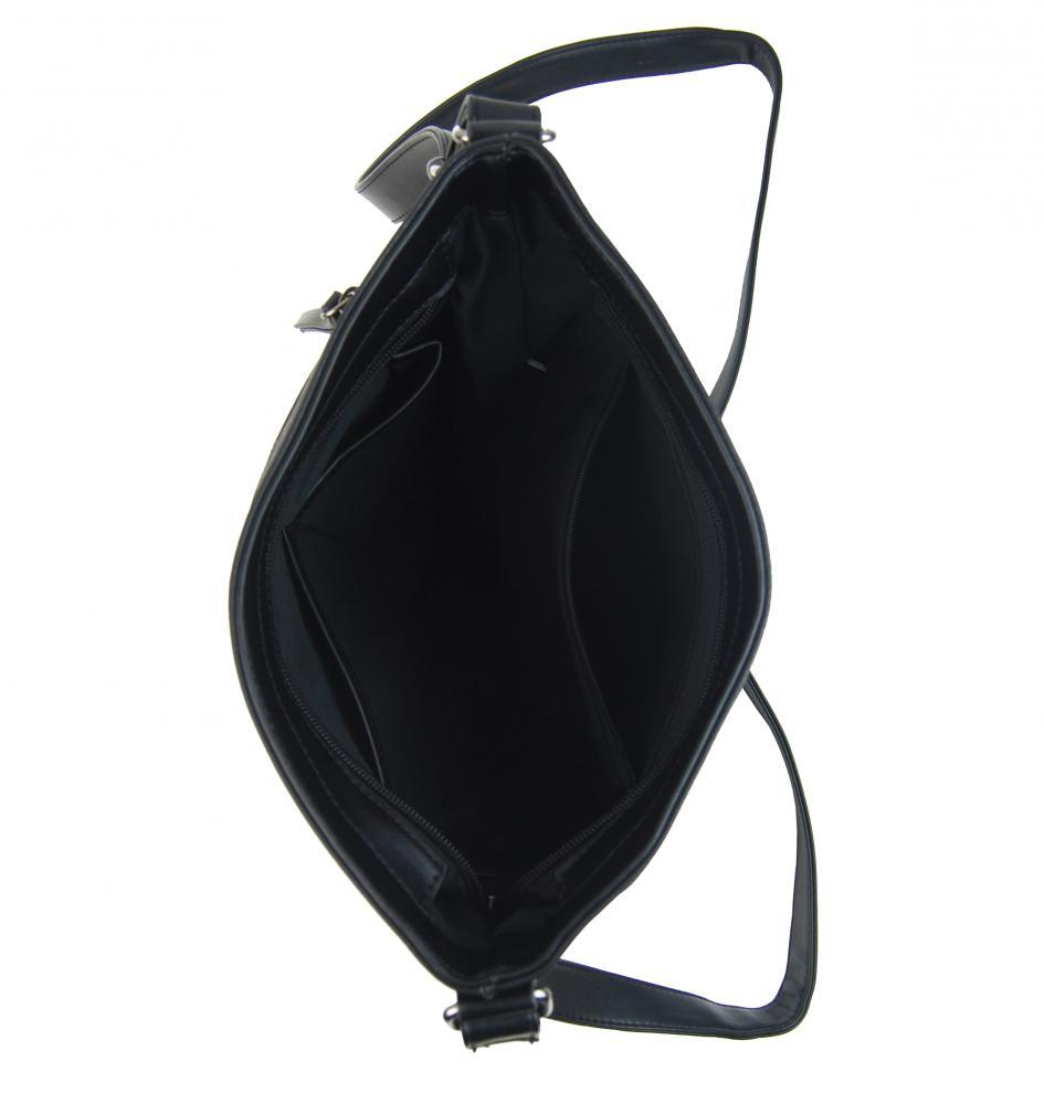 Čierna crossbody dámska kabelka strednej veľkosti T5069