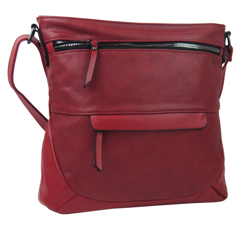 Červená crossbody dámska kabelka strednej veľkosti T5069