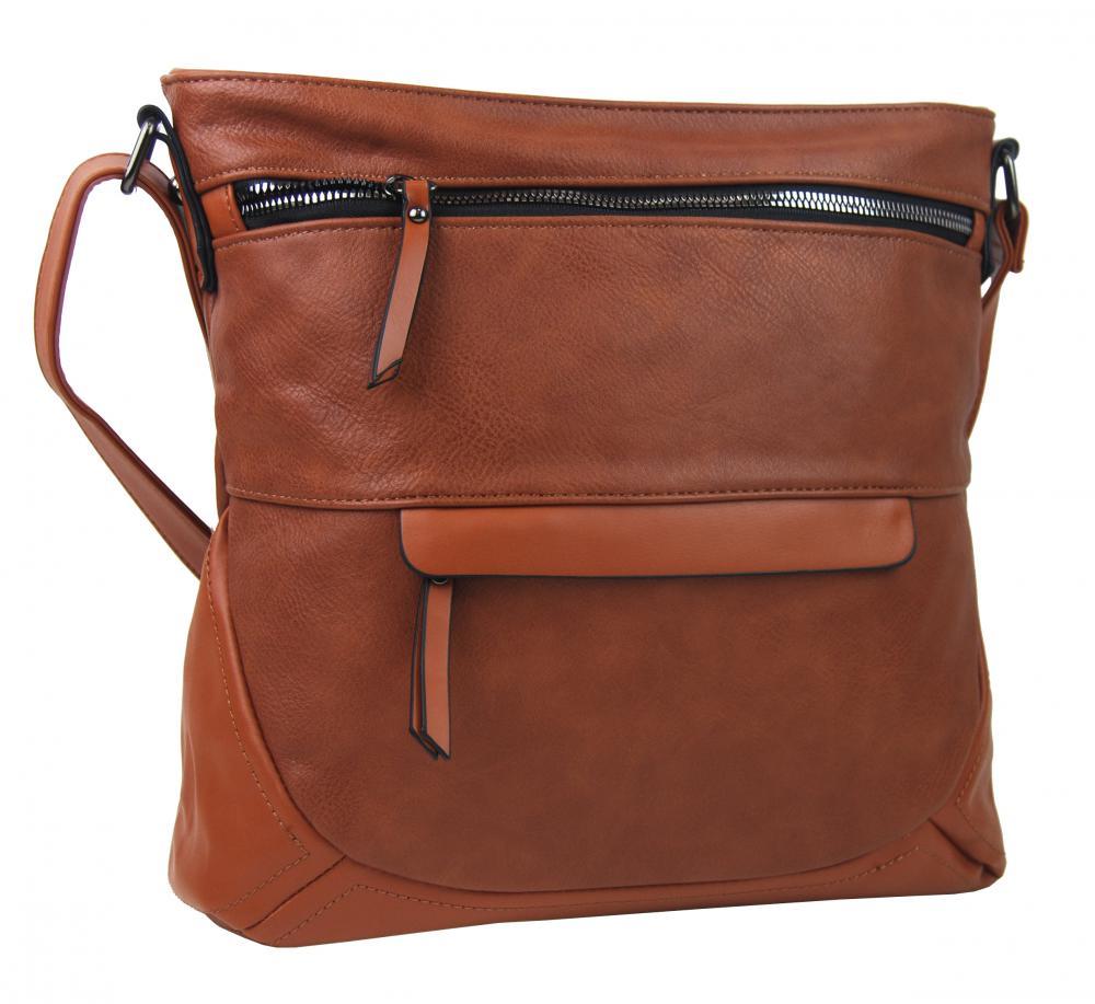 Hnědá crossbody dámská kabelka střední velikosti T5069