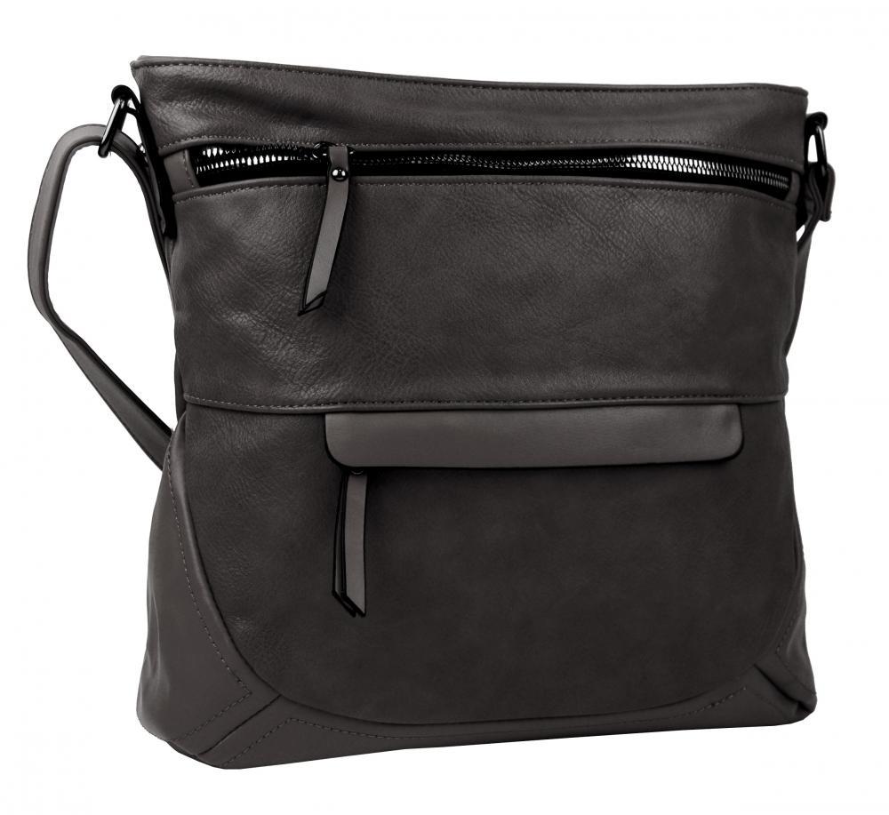 Tmavo sivá crossbody dámska kabelka strednej veľkosti T5069